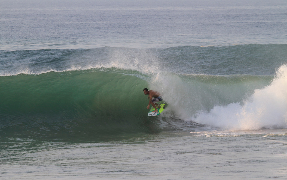 Josh Mulcoy tubed in Salina Cruz, La Escondida, Las Palmeras Surf Camp