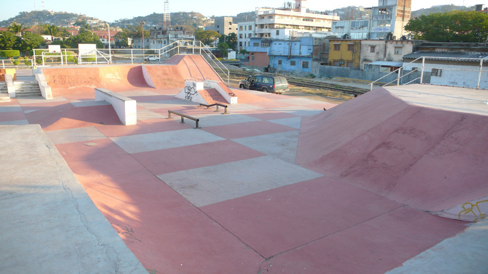 The skatepark in Salina Cruz, Oaxaca, Las Palmeras Surf Camp