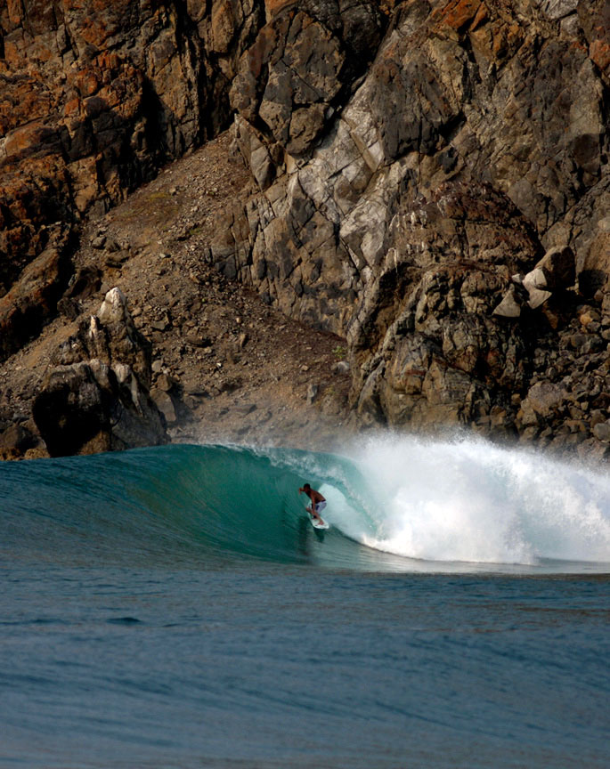 Adam on a serious double up. Escondida, Salina Cruz, Las Palmeras Surf Camp