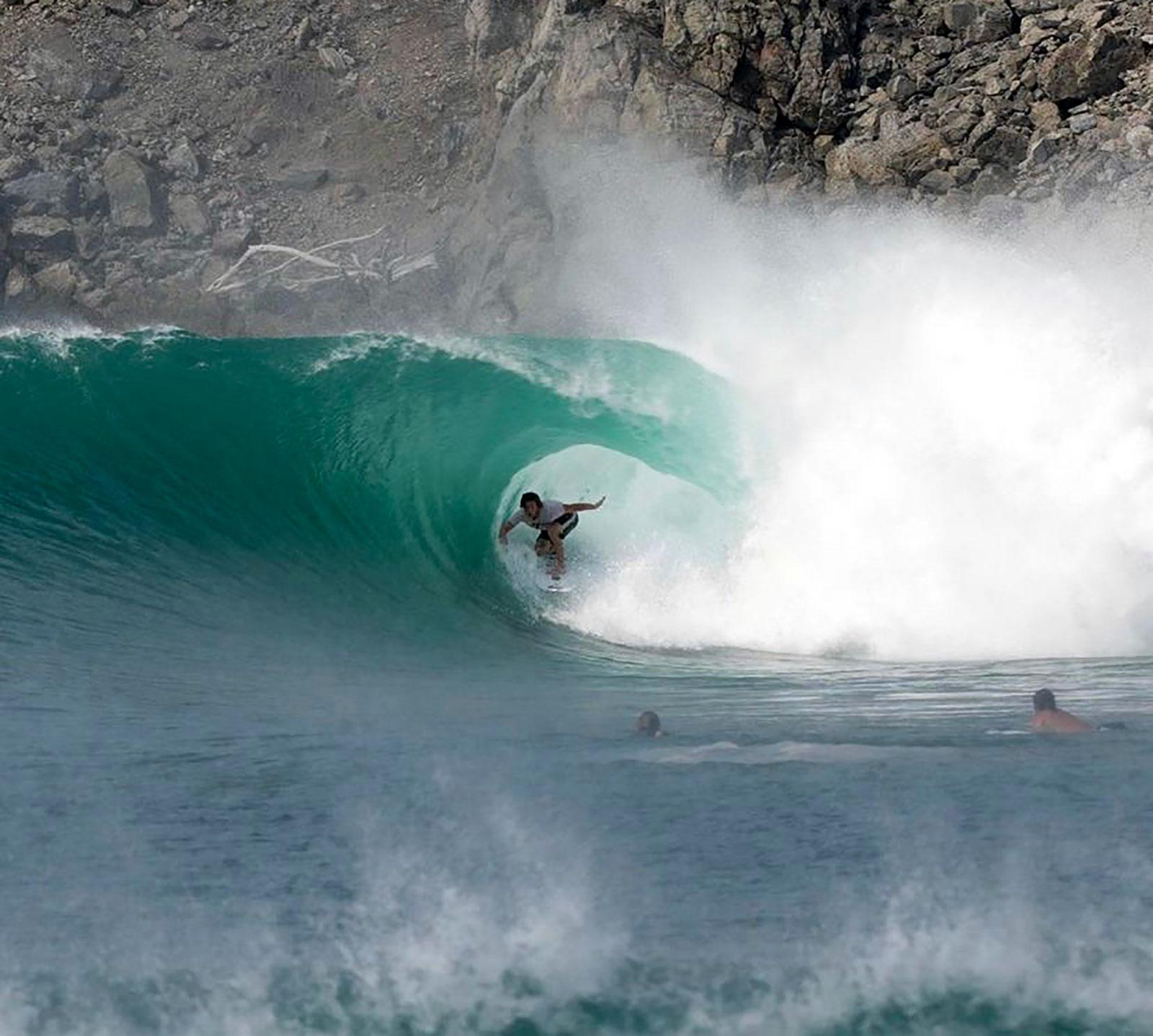 Shane Borland scoring Escondida in Salina Cruz, Oaxaca, Mexico at Las Palmeras Surf Resort