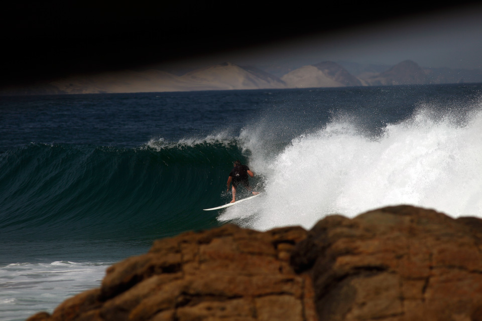 Zeech pulling into the inside section, another perfect point, Salina Cruz, Las Palmeras Surf Camp